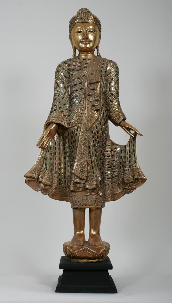 Xxl buddha statue skulptur stehend feng shui holz gold ebay for Buddha statue holz